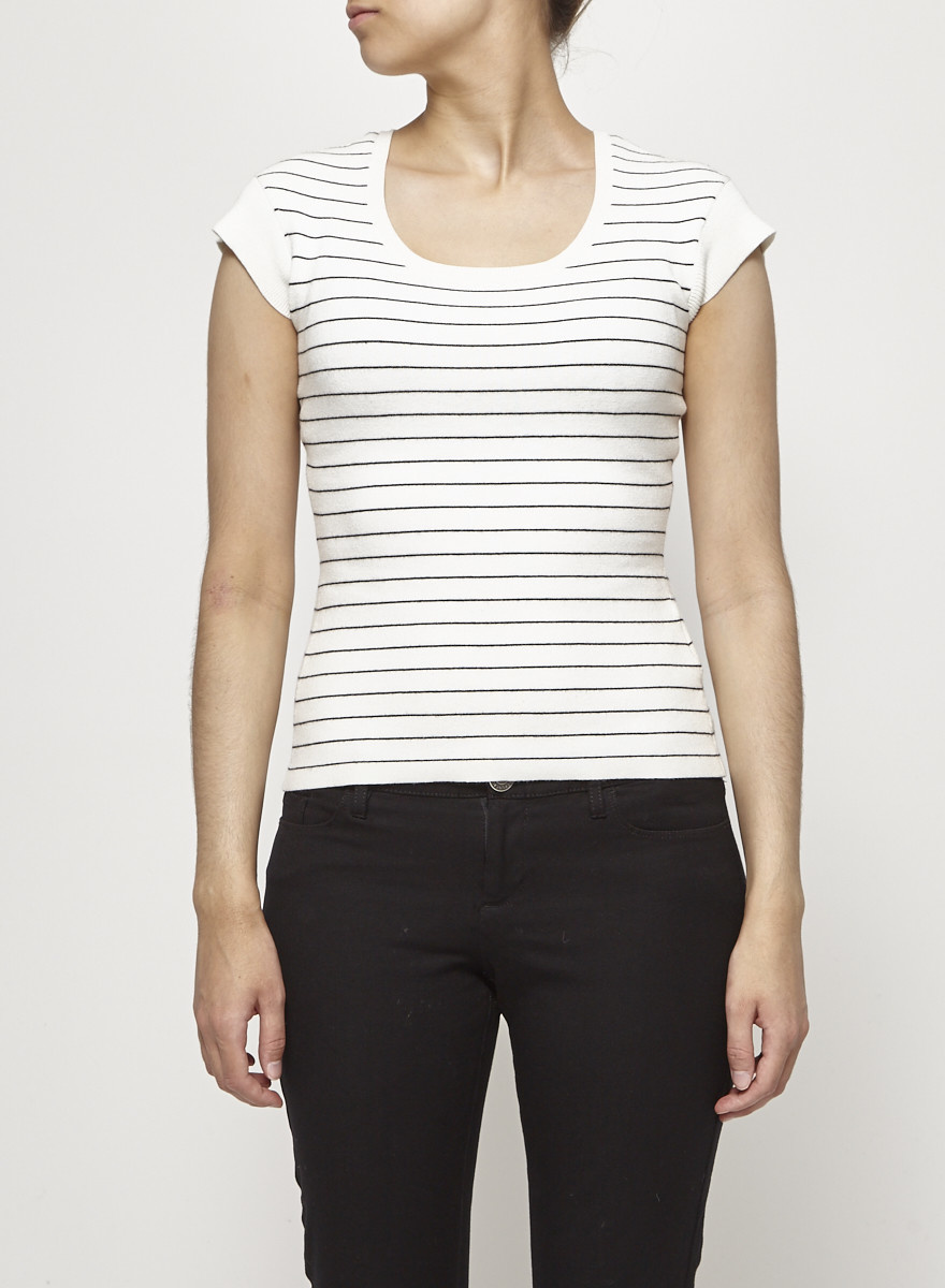 Club Monaco White Knit Striped Top