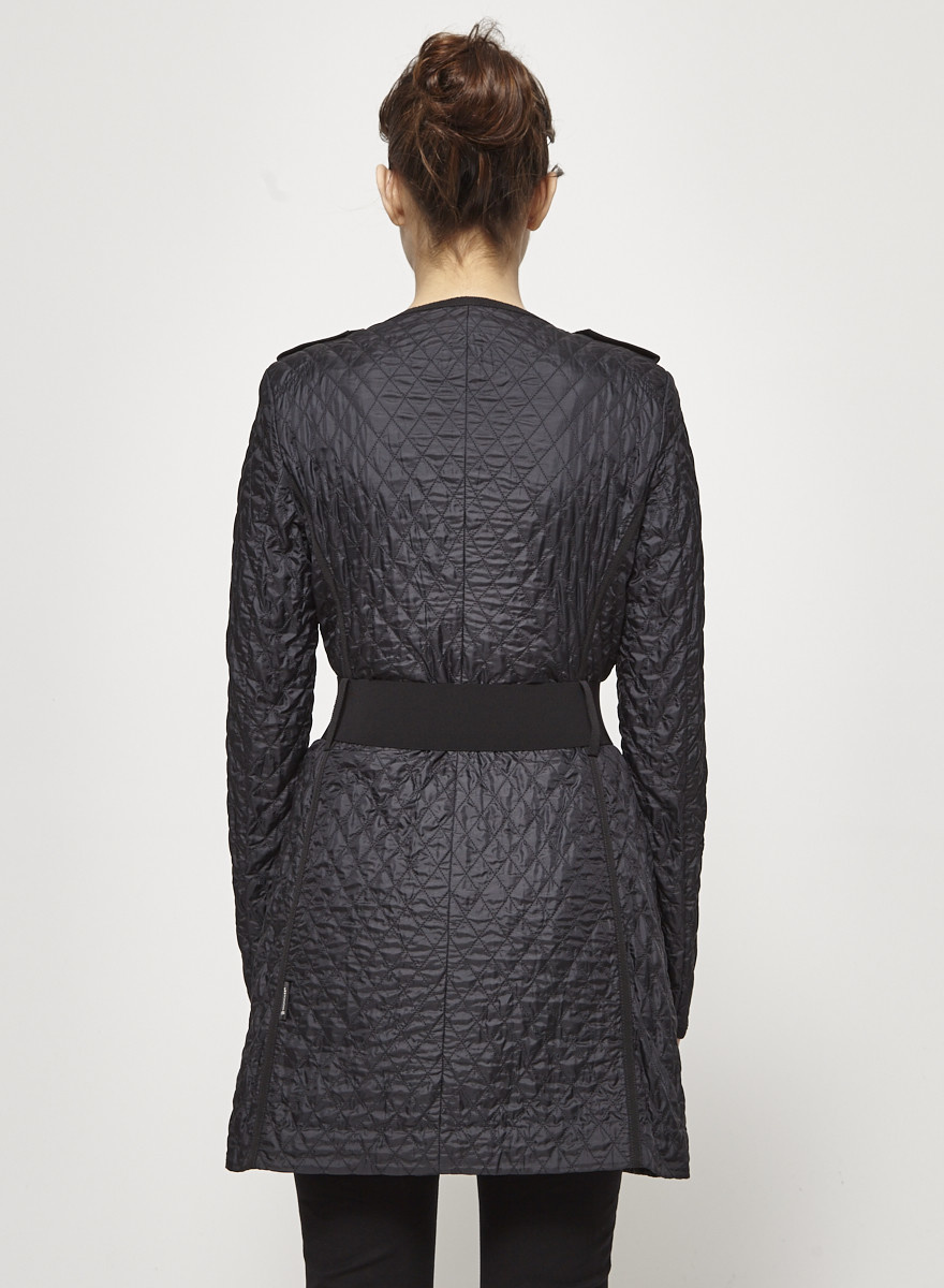 Moncler Black Belted Quilted Coat