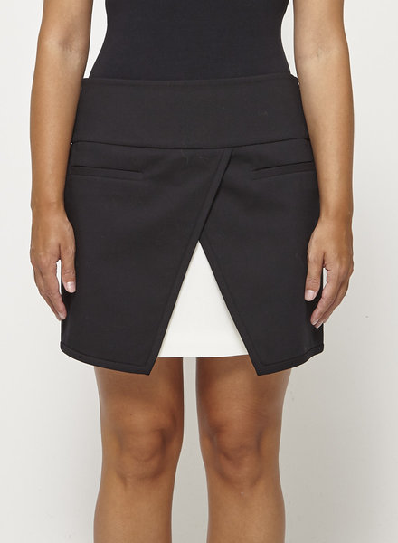 Tibi BLACK SPLIT PANELED MINI SKIRT