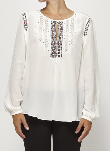 Joie OFF-WHITE SILK BLOUSE WITH EMBROIDERY