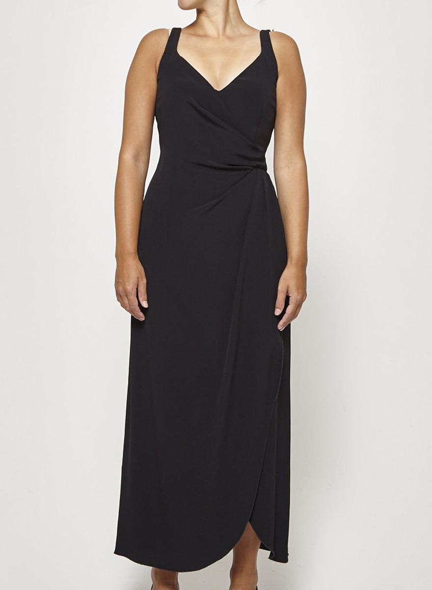 Giorgio Armani Black Draped Long Dress