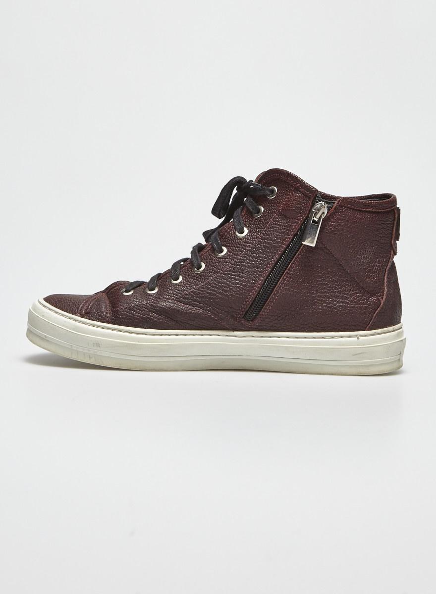 La canadienne Burgundy Textured Leather Espadrilles