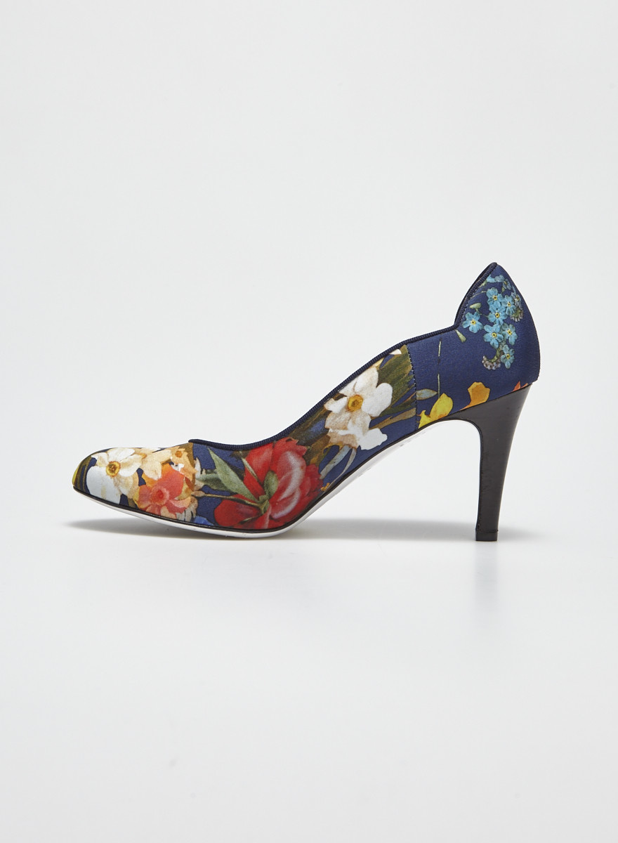Ron White Floral Navy Pumps