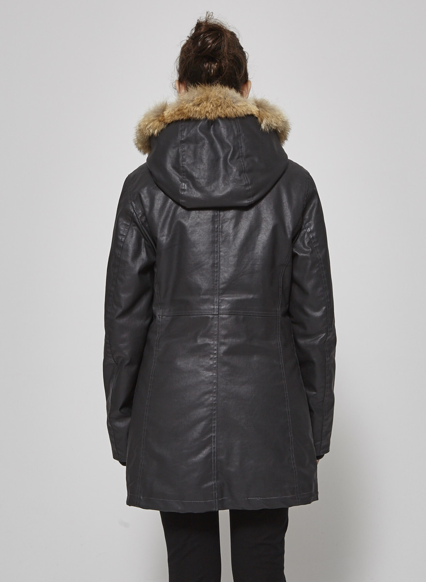 M0851 Charcoal Grey Coat with Fur Hooded Cap