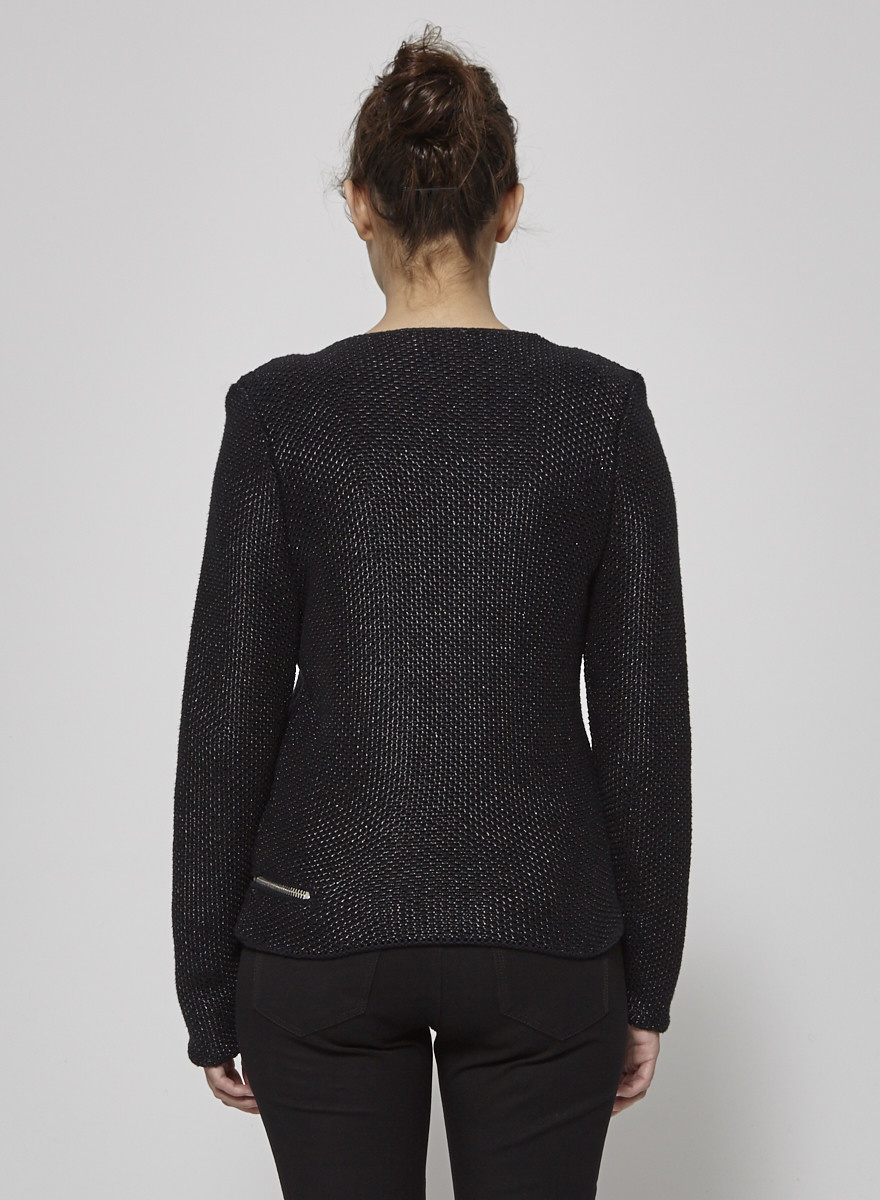 Maje Black Jacket with Silver Zippers