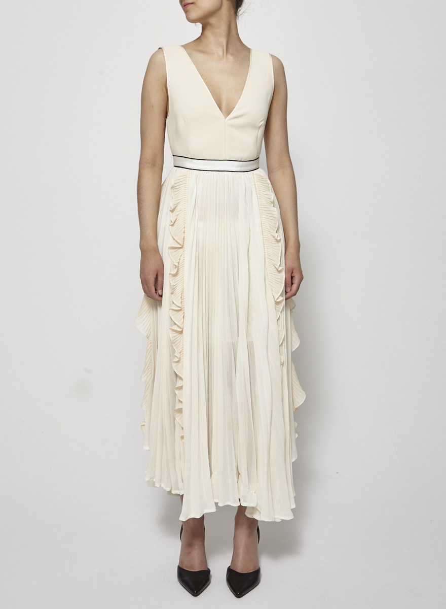 Self-Portrait V Neck Dress with Fluted Pleats