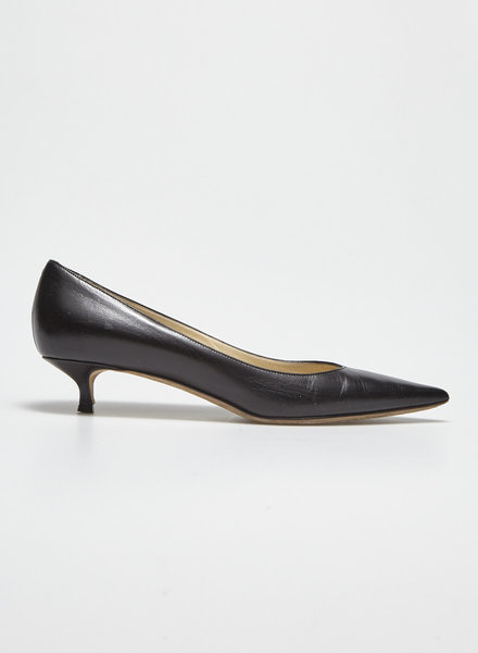 Jimmy Choo BLACK LEATHER KITTEN HEEL PUMPS