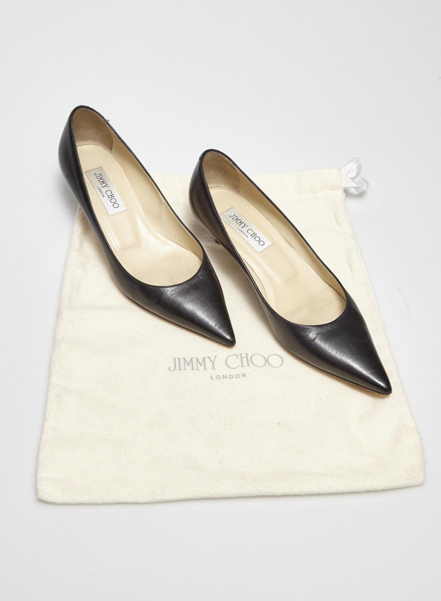 Jimmy Choo Black Leather Kitten Heel Pumps