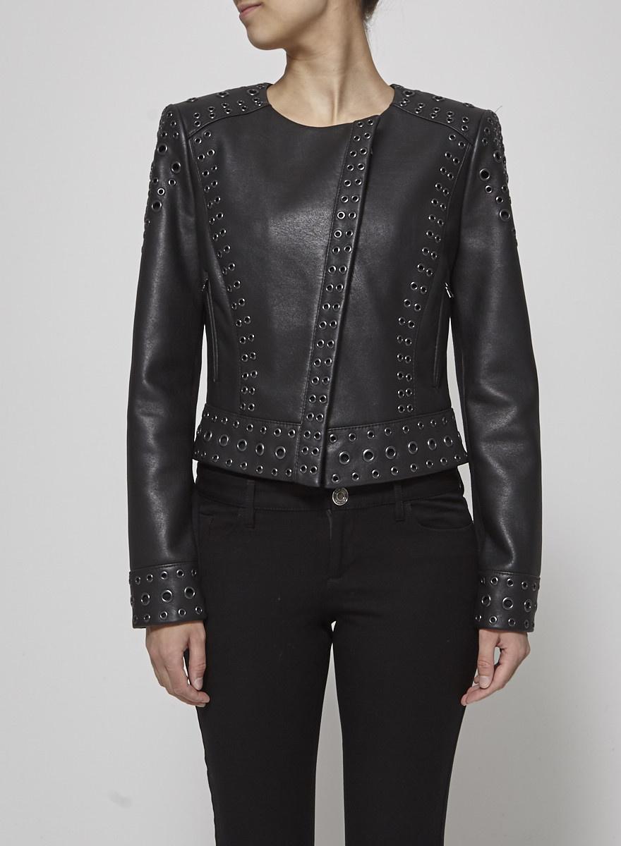 BCBG Max Azria Veste en faux cuir noir à oeillets