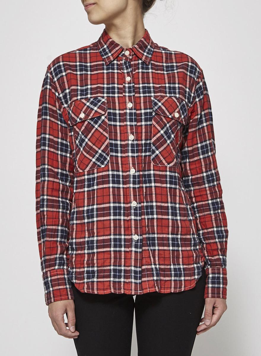 R13 Chemise à carreaux rouge, bleu et blanc