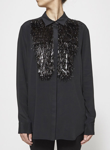 Space Style Concept Couture NERO BLACK BLOUSE WITH EMBELLISHMEN - NEW