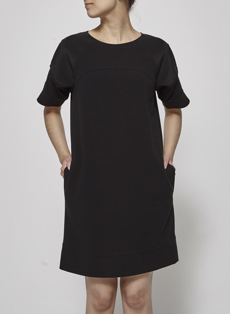 Vince Black Dress with Textured Shoulders
