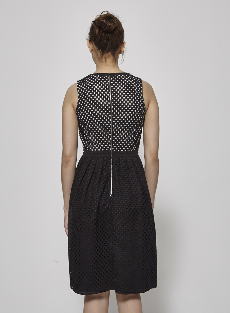 Judith & Charles Perforated Black and White Dress