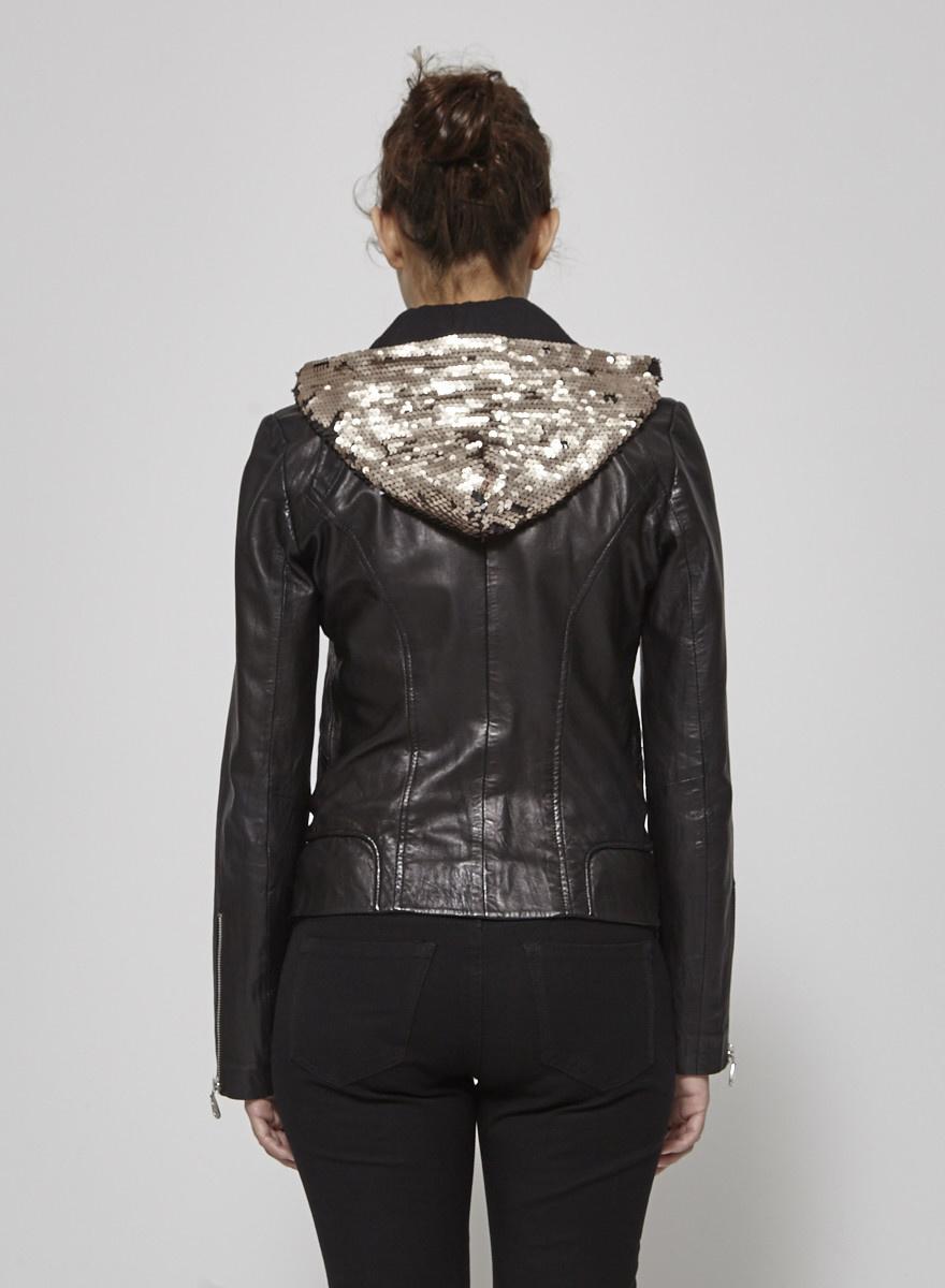 Doma Manteau noir en cuir à col en paillettes