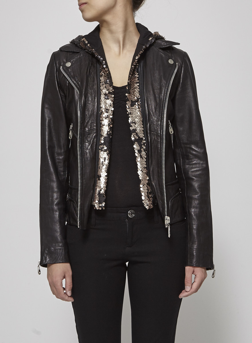 Doma Black Leather Jacket With Sequin Hood