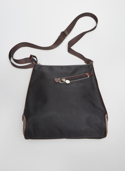 Lancel BLACK NYLON AND BROWN LEATHER SHOULDER BAG