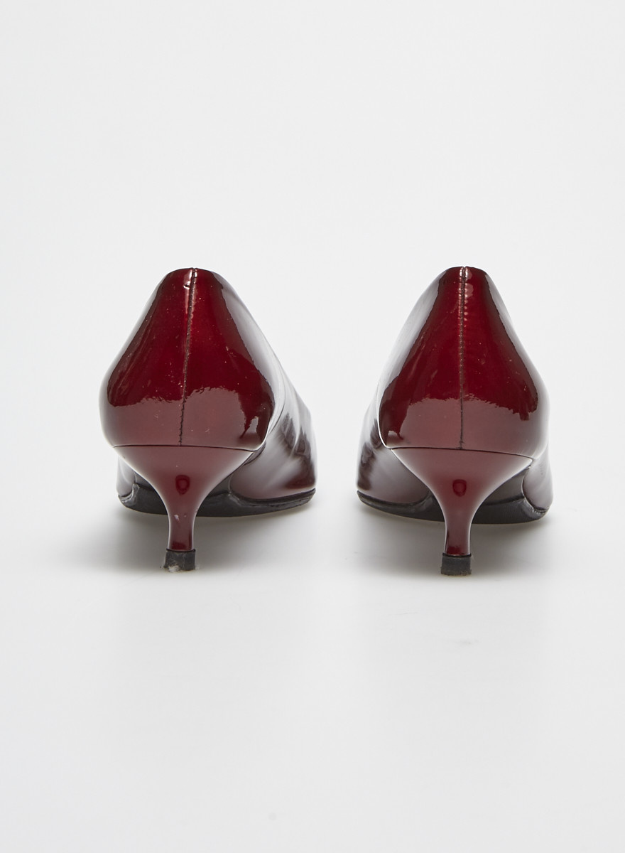 Stuart Weitzman Red Patent Kitten Heeled Pumps