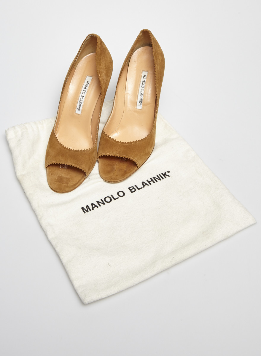Manolo Blahnik Camel Suede Heeled Sandals