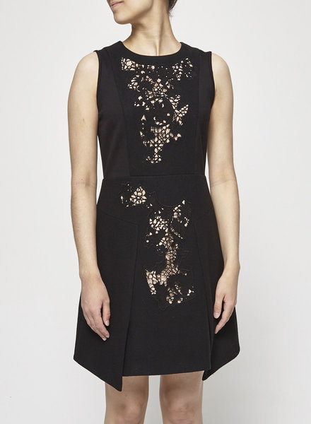 Tibi BLACK DRESS WITH LACE DETAIL