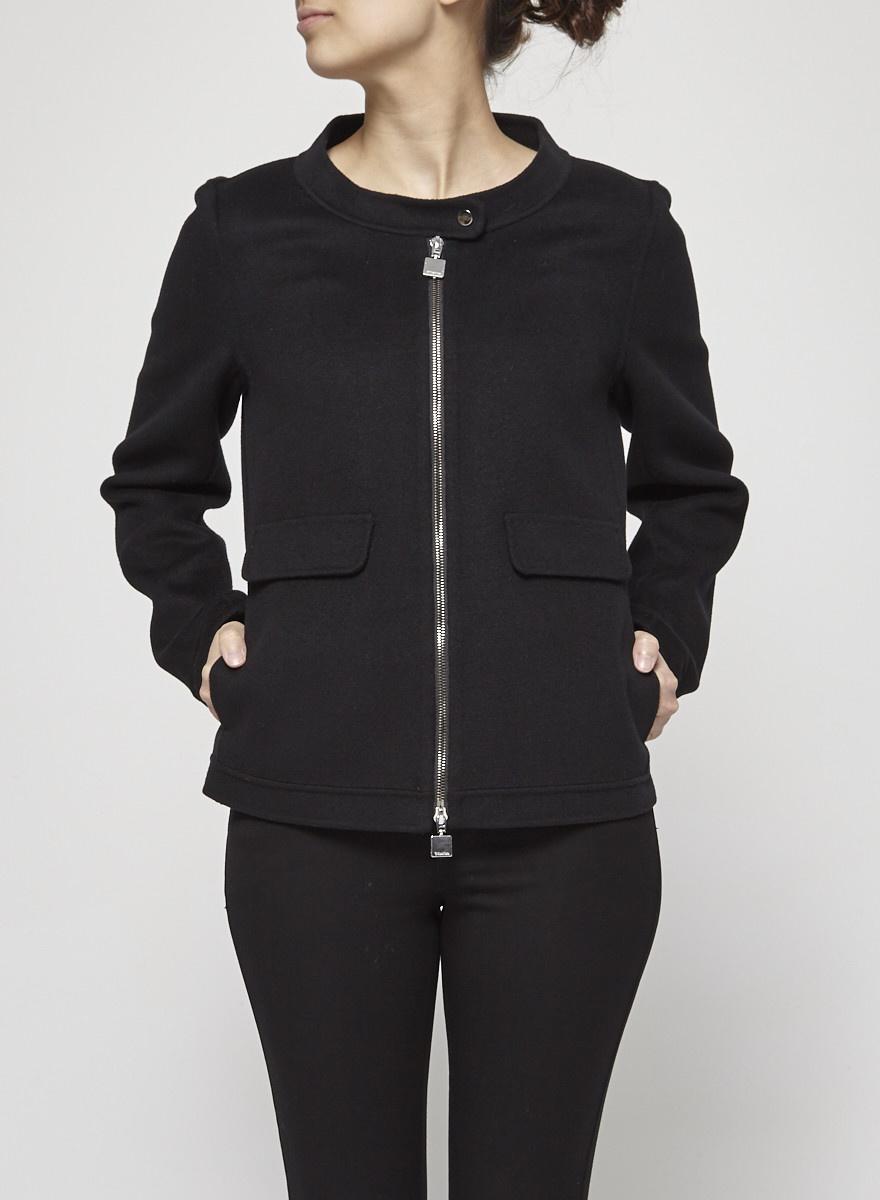 'S Max Mara Black Zip-Detailed Wool Coat