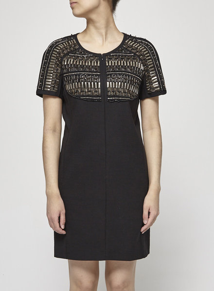 Barbara Bui BLACK DRESS WITH LEATHER & JEWEL EMBROIDERIES
