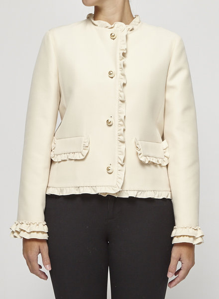 Gucci SILK & WOOL OFF-WHITE BLAZER