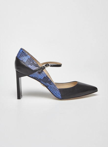 Zvelle BLACK AND BLUE SNAKE-EFFECT LEATHER PUMPS