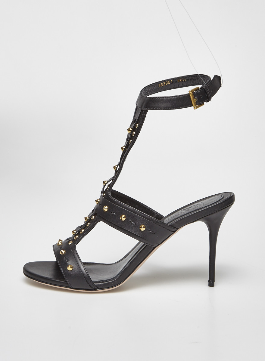 Alexander McQueen Black Leather Studded Sandals