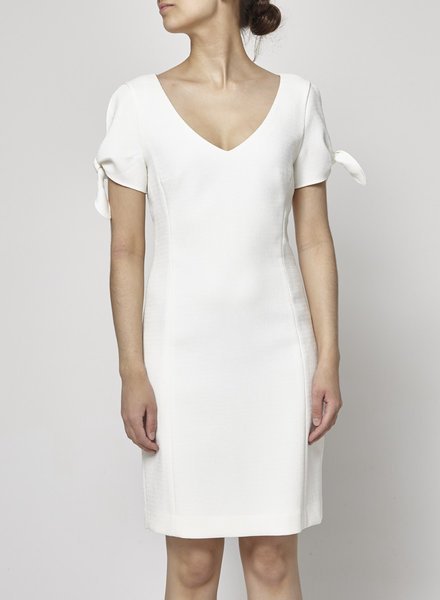 Club Monaco WHITE DRESS WITH KNOTTED SLEEVES