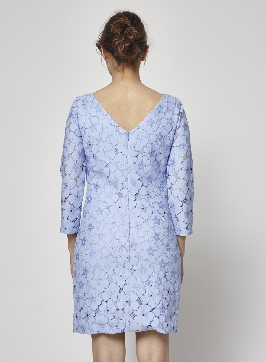 Diane von Furstenberg Long Sleeves Lilac Dress with Flower Lace