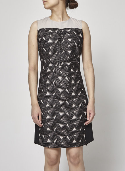 Diane von Furstenberg BLACK GEOMTRIC-PANEL DRESS