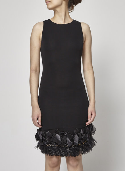 Alice + Olivia NEW PRICE (WAS $160) - BLACK FEATHER AND PEARL-EMBELLISHED COCKTAIL DRESS