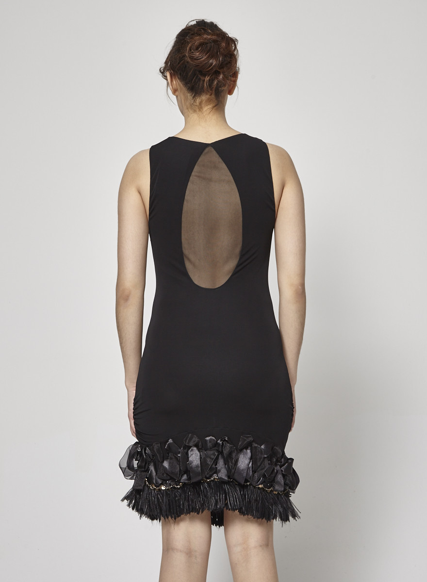 Alice + Olivia Black Feather and Pearl-Embellished Cocktail Dress