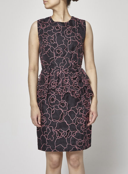 Diane von Furstenberg PINK FLORAL-PANELED BLACK DRESS