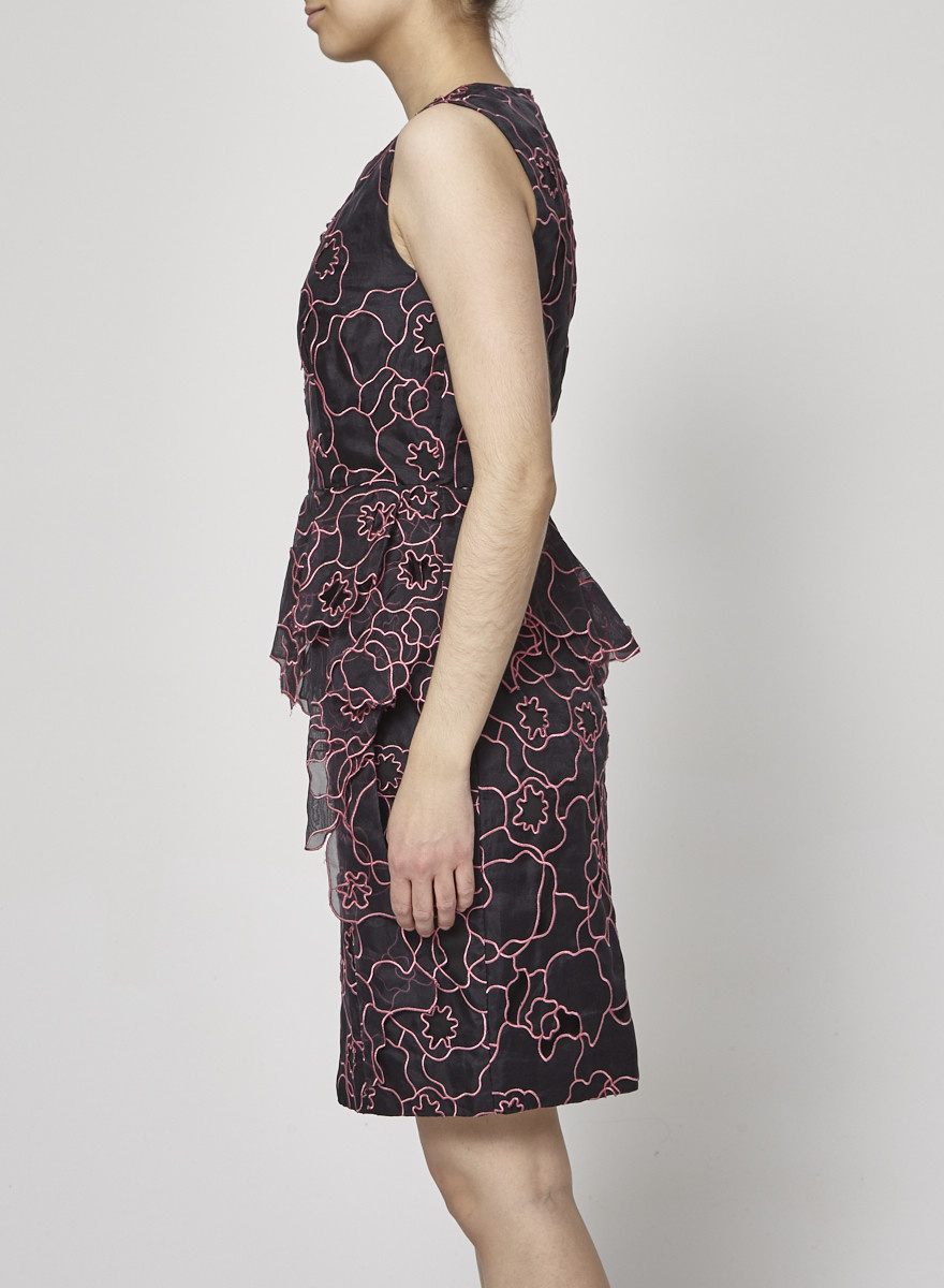 Diane von Furstenberg Pink Floral-Paneled Black Dress