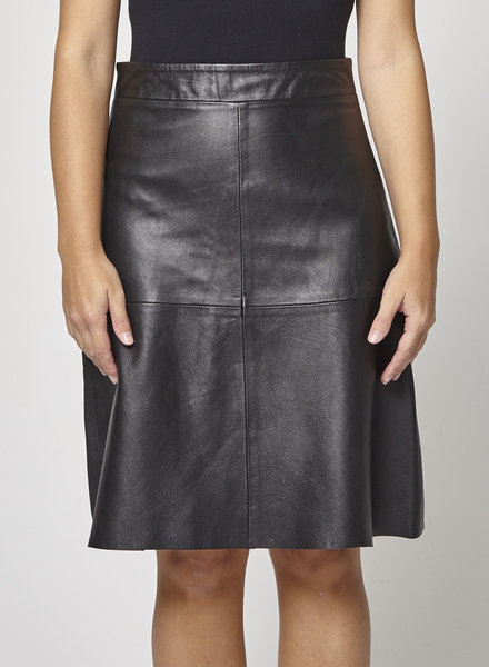 Soaked in Luxury BLACK LEATHER A-LINE SKIRT