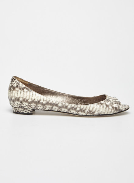 Manolo Blahnik SNAKE-EFFECT LEATHER OPEN-TOE BALLET FLATS