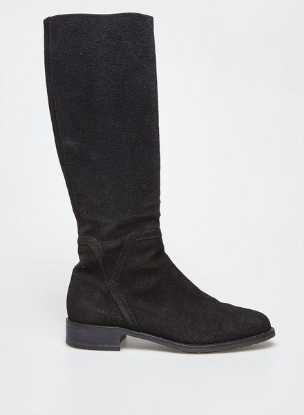 Aquatalia BLACK SUEDE AND COTTON BOOTS