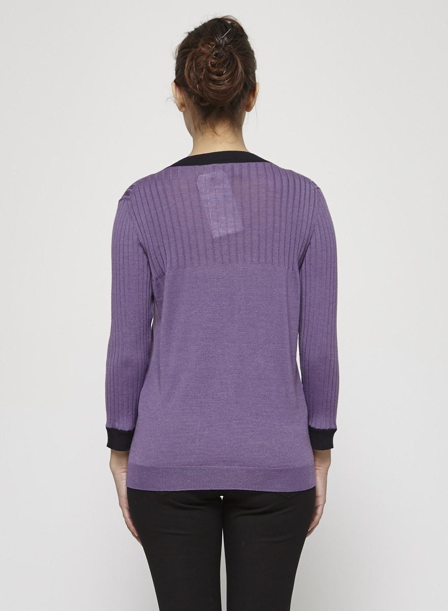 Prada Purple Cardigan with Black Strips