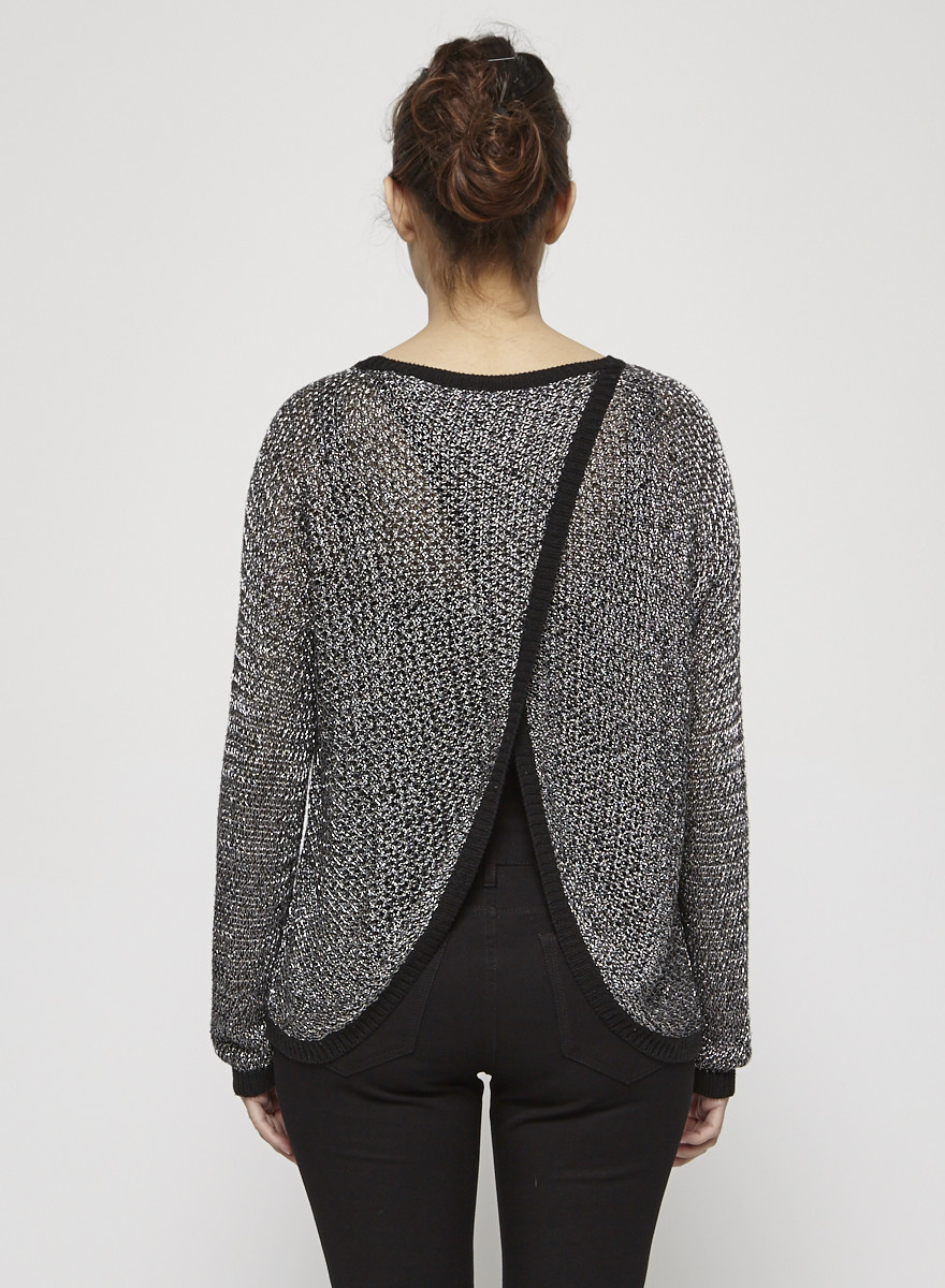 Mason Black Metallic Knitted Open-Back Sweater