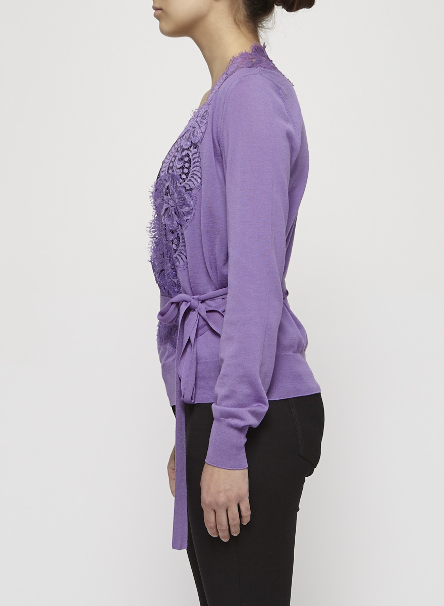 Dolce & Gabbana Mauve Lace-Trimmed Wool Wrap Sweater