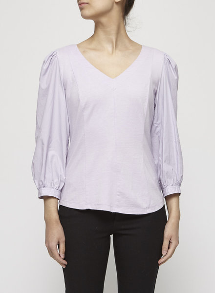 La Vie Rebecca Taylor LILAC PUFFY SLEEVE COTTON BLOUSE