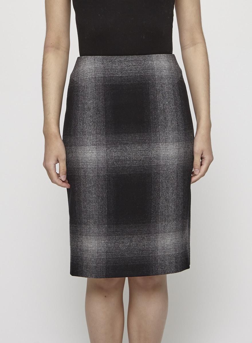 MaxMara Studio Wool Checked Skirt