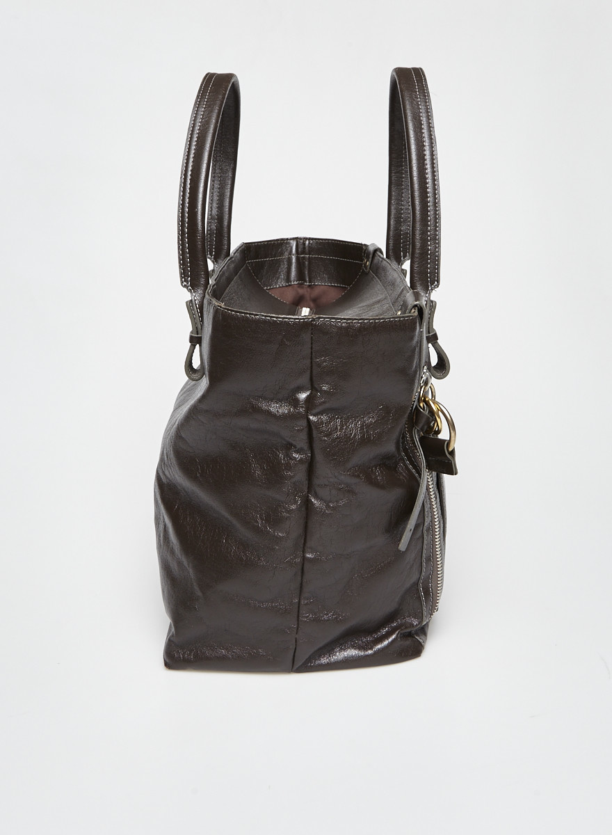 Chloé Brown Logo-Embossed Leather Tote Bag