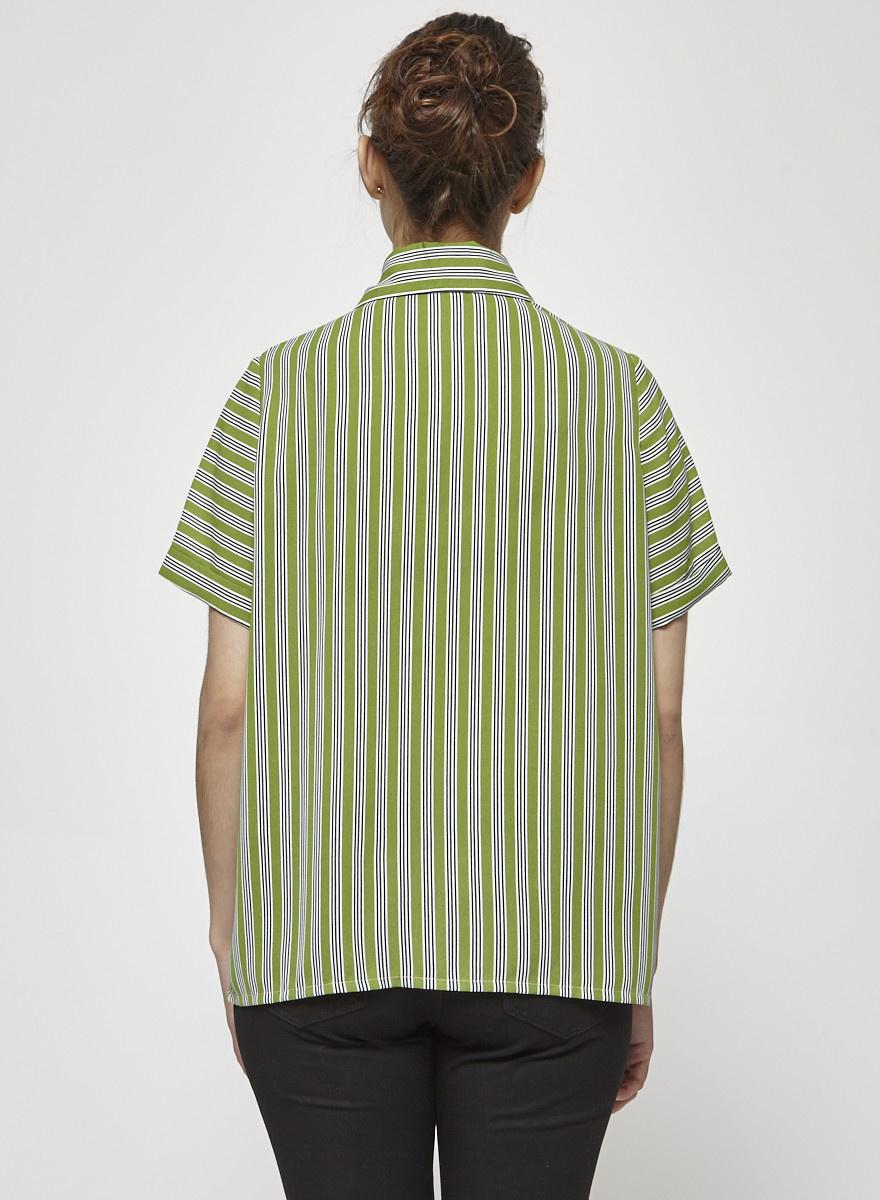 Marigold Nela Green Striped Shirt