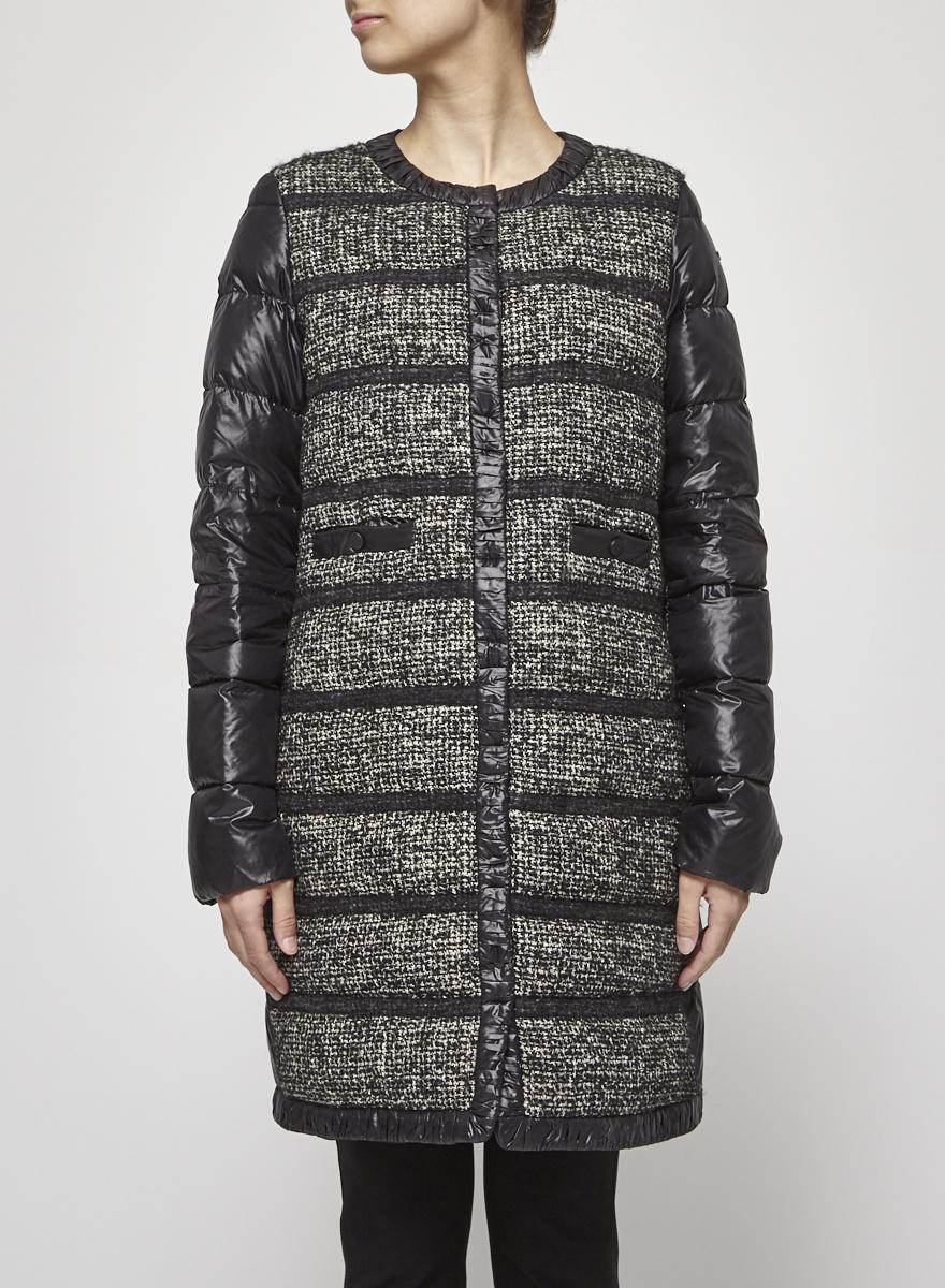 Seventy Manteau noir devant en tricot avec lin et alpaca