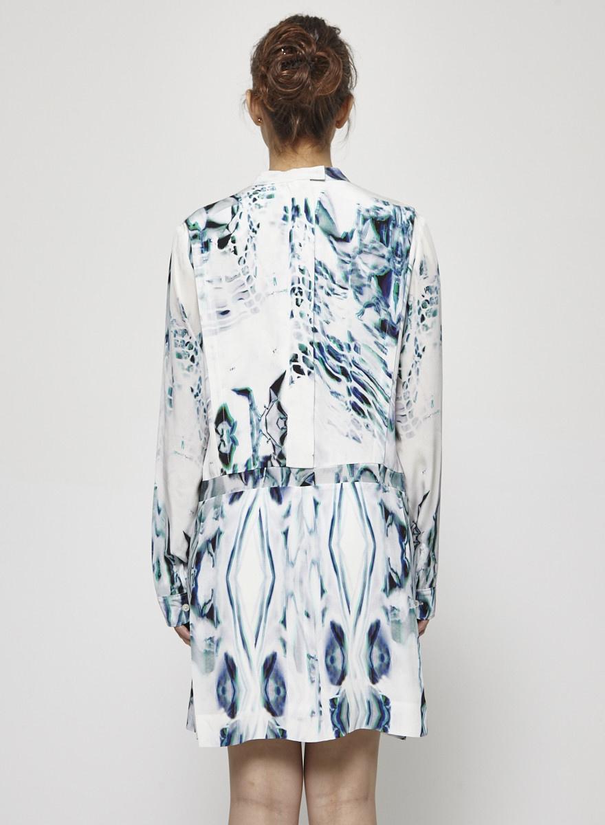 Public School Robe imprimée en soie à manches longues