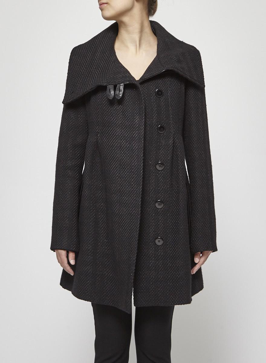Mackage Manteau noir tressé avec détails en cuir