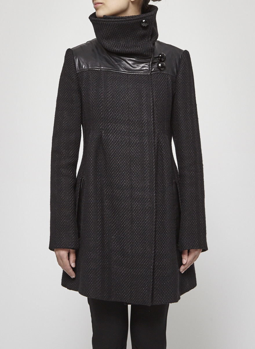 Mackage Black Braided Coat With Leather Details