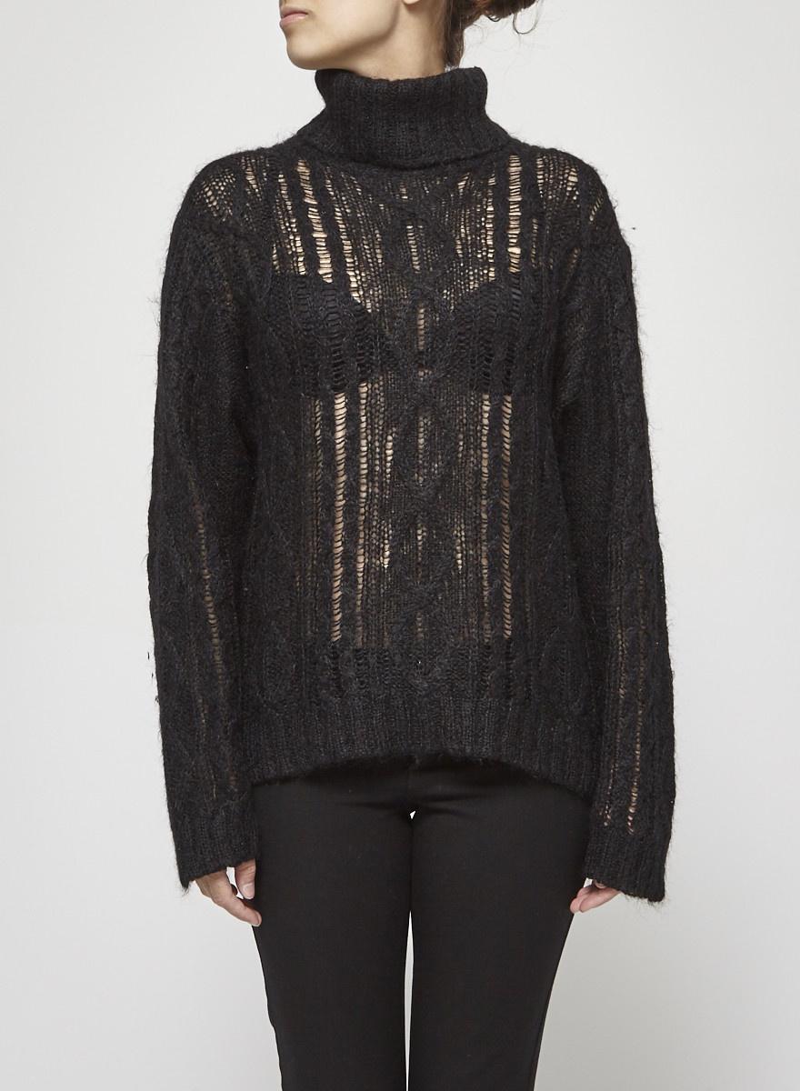 Isabel Marant Étoile Pull noir en tricot à col roulé